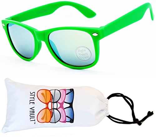 KD04-vp Kids Child (2-10yr Old) Wayfarer 80s Sunglasses (S1764V Mt Green-Lime Mirror, - Lime Mirror Green