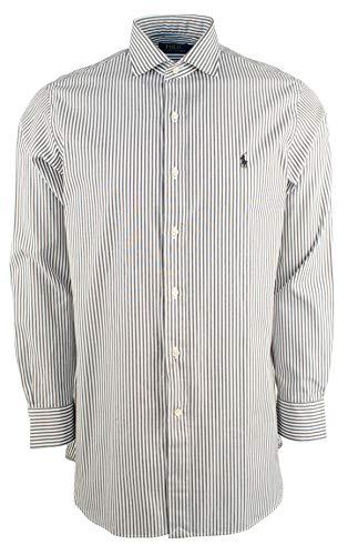 (Polo Ralph Lauren Mens Classic Fit Striped Dress Shirt,Black/White,17 (34/35))