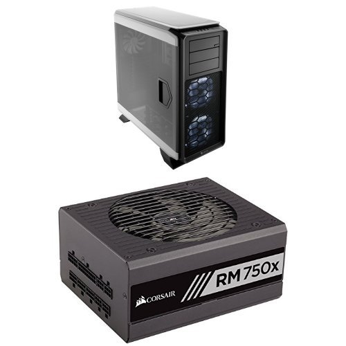 Corsair Graphite Series 760T Full Tower Windowed Case - White and Corsair RMx Series, RM750x, 750W, Fully Modular Power Supply, 80 PLUS Gold (Rmx Series)