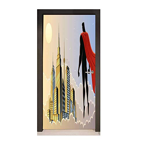 Superhero 3D Murals Wall Stickers Hero Watching The City on Clouds at Sunset Protector Fantasy Architecture Design for Home Room Decoration Multicolor,W17.1xH78.7 ()