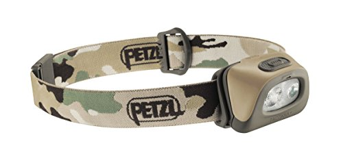 Petzl - TACTIKKA + Headlamp, 250 lumens, Ultra-Compact Headlamp, Camo