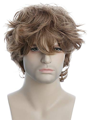 Karlery Male Mens Short Curly Fluffy Brown Wig with Bang Halloween Cosplay Wig -