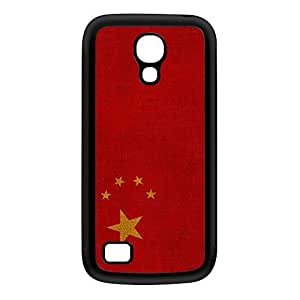 Canvas Flag of China - Chinese Flag Black Silicon Rubber Case for Galaxy S4 Mini by UltraFlags + FREE Crystal Clear Screen Protector