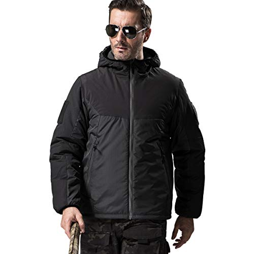 FREE SOLDIER Men's Tactical Jacket Breathable Winter Coat Lightweight Warm Keeping Puffer Water Resistant Jacket(Black,S)