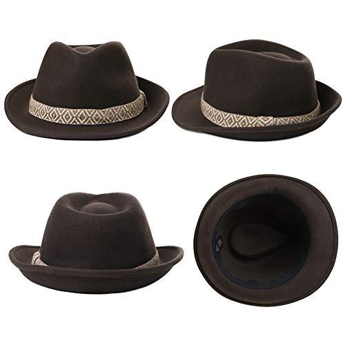 5dc1d23201fb3 Jeff   Aimy Unisex Crushable Dress Fedora 100% Pure Wool Felt Gangster  Homburg Hat