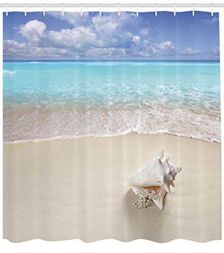 Ambesonne Seashells Shower Curtain, Beach Sand Pearl Necklace Shell Summer Holiday Caribbean Tropical, Cloth Fabric Bathroom Decor Set with Hooks, 84 Inches Extra Long, Coconut Turquoise Blue
