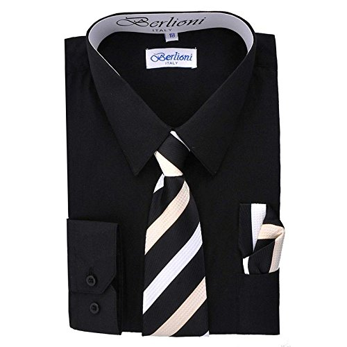 - Boy's Dress Shirt, Necktie, and Hanky Set - Black, Size 6
