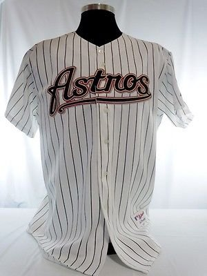 Houston Astros Authentic Majestic White Pinstripe Jersey with 40 Years Patch ()