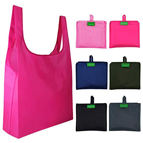 (6 Pcs Reusable Grocery Bags, 50LBS Heavy Duty Shopping Merchandise Bags with Foldable into Attached Pouch Design, Ripstop Polyester Grocery Tote (Moss, Pink, Rose, Black, Gray, Navy Blue))