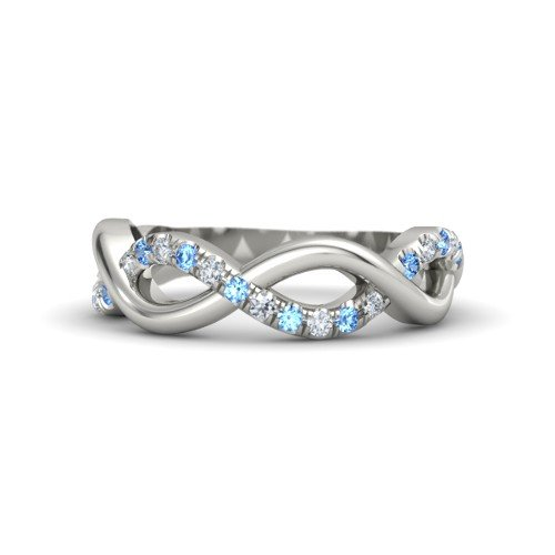 14K White Gold Ring with Blue Topaz & Diamond â€