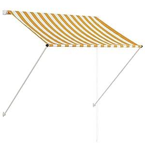 Tidyard Los toldos retractables para Jardin y Ventanas toldos Balcones Amarillo y Blanco 150 x 150 cm (Anchura x Altura)