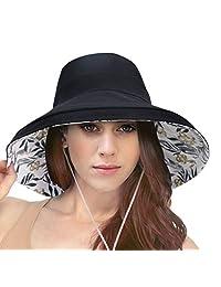 Simplicity Mujer Algodón Verano Playa Sol Sombrero con ala Ancha Flexible.