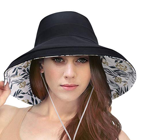 (Packable Large Brim Floppy Sun Hat Reversible UPF 50+ Beach Sun Bucket Hat)