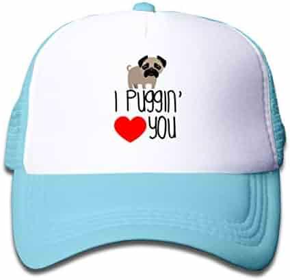 ee0188a32c9 Funny Pug Love Dog Design Newest Boys Girls Mesh Baseball Cap Kids Adjustable  Trucker Hats