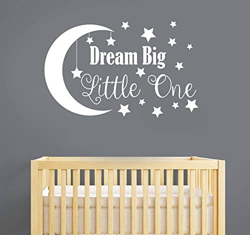 Dream Big Little One Wall Decal, Nursery Wall Decal, Nursery Decor, Nursery Wall Quote, Quote Decal, Removable Vinyl Wall Stickers For Baby Kids Boy Girl Bedroom Nursery Decor A34 (Big, White)