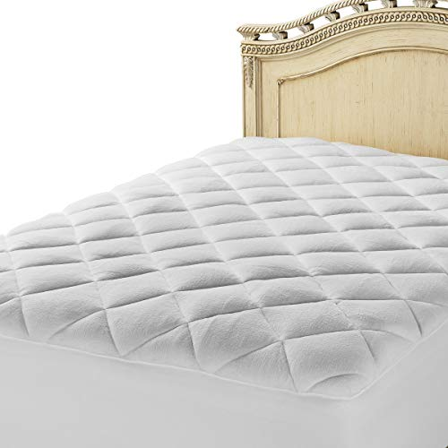 Mastertex Double Puff Mattress Topper Cover Extra Plush Fiberfill Topped with White Quilted Fleece Mattress Pad - Two Layers (Full XL Size - 54