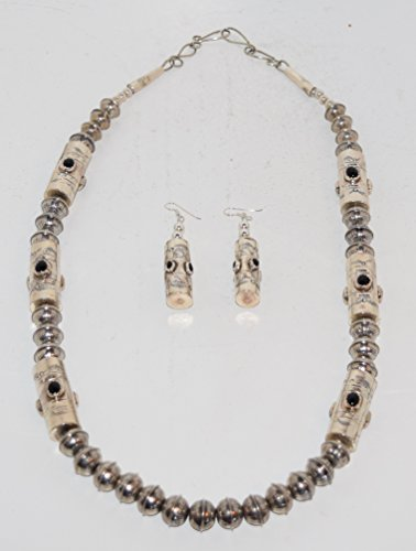 Stunning Black Onyx Sterling Silver Drum Necklace with Matching Earrings and Handmade Beads