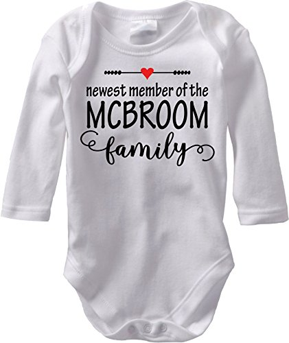 The Newest Member - Custom Baby Name Birth Announcement (3M Long Sleeve Bodysuit, Red Heart)