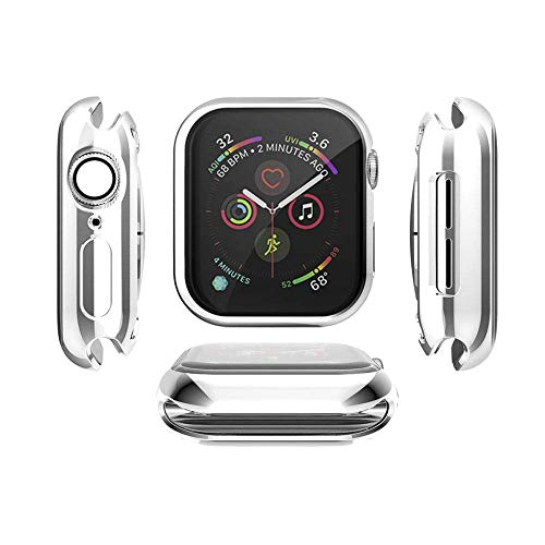 Tech Express Electroplate Metal Soft Case for Apple Watch Series 1,2,3 [iWatch Cover] Rugged Mirrored Chrome Skin 38mm, 42mm TPU Gel Cover Shockproof Tough Full Body Open Front (Silver, 38mm) (Chrome Watch)