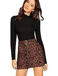 Women's Mid Waist Above Knee O-Ring Zipper Front Leopard Print Skirt