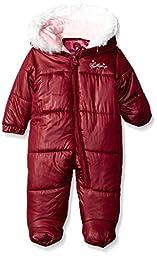 Weatherproof Baby Girls\' Bubble Jacket with Printed Dewspo Shell, Merlot, 12 Months