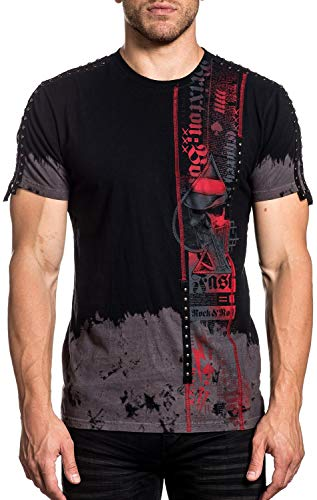 Affliction Men's Plus Size Time Will Tell, Remi Wash Charcoal Black 4X (Affliction Plus Size For Women)