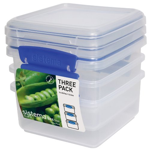 angular Collection Lunch Plus Storage Container, 40.5 oz./1.2 L, Clear/Blue, 3 Count ()