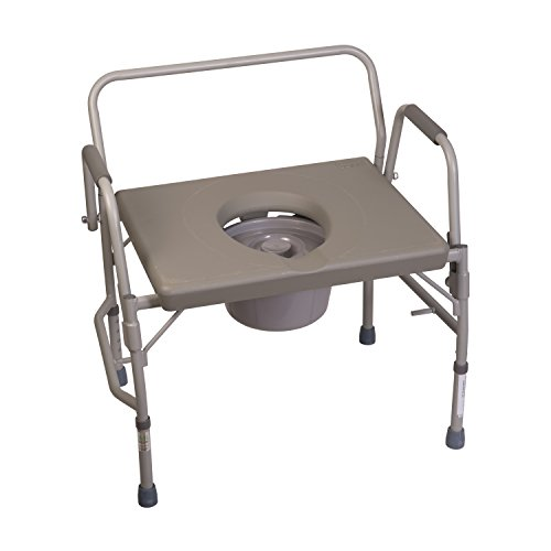 Duro-Med Commode Chair with Assist Bars, Heavy-Duty Steel Commode Toilet Chair, Toilet Safety Frame