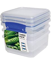Sistema KLIP IT Rectangular Collection Lunch Plus Storage Container, 40.5 oz./1.2 L, Clear/Blue, 3 Count