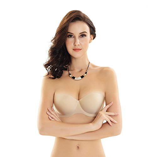 WEIMAIER Bandeau Strapless Bra Tube Top Bra Invisible Push-Up Nylon Comfort Underwear for Women (A, Nude)