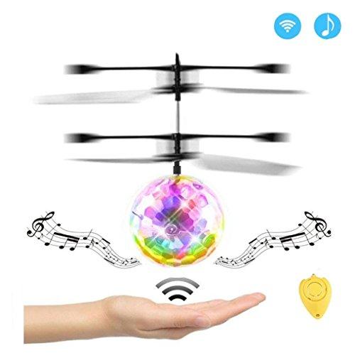 WZG Remote flight ball, LED light children disco music toy, infrared flight sensor mini helicopter