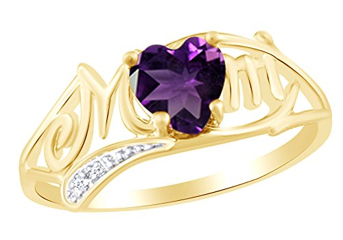 AFFY Heart Cut Simulated Amethyst & White Cubic Zirconia MOM Ring in 10k Yellow Gold Ring Size-11