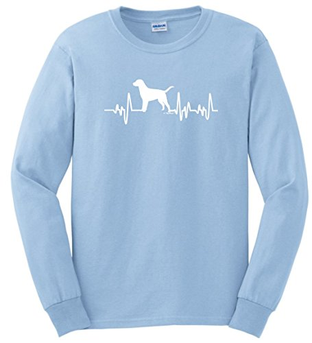 Labrador Retriever Rescue Mom Dad Labrador Retriever Gifts Dog Lover Heartbeat Lab Long Sleeve T-Shirt 3XL LtBlu