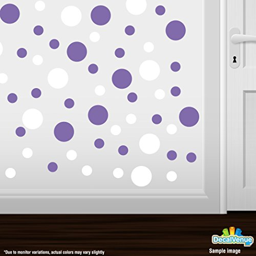 Set of 30 - White / Lavender Circles Polka Dots Vinyl Wall Graphic Decals Stickers (Lavender Circles)