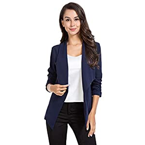 AUQCO Casual Open Front Blazer for Women Work Office Business Jacket Ruched 3/4 Sleeve Lightweight Draped Cardigan 20