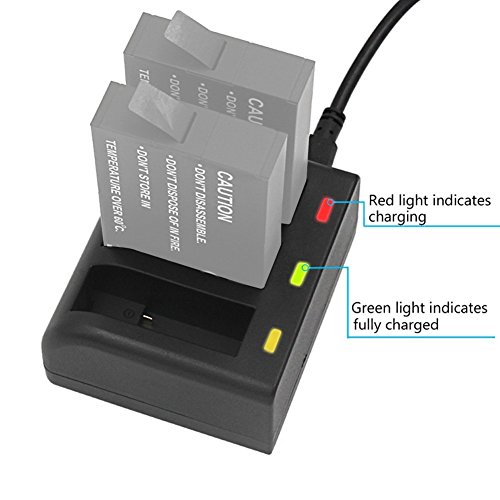 Gonine Battery Charger for GoPro Fusion, 3 Channel Charged ASBBA-001 Batteries, Red/Green LED Charging Status Indicators, USB Micro Charger with Type C Port.