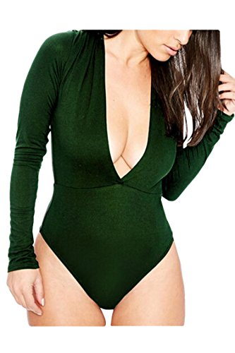 Poison Ivy Bodysuit (Pink Wind Women's Plunge V Neck Long Sleeve One Piece Bodysuit Jumpsuit Green)