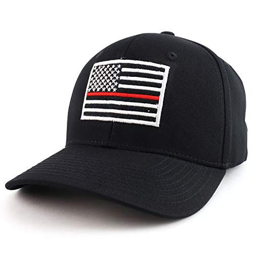 Rap Dom USA American Flag Embroidered 6 Panel Adjustable Operator Cap - Thin Red Line - Black