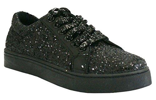 Noir Mode K92 Plates Paillettes Femmes Lacets Métalliques Baskets Chaussures à Marche CRAZY SHU a7wq00H