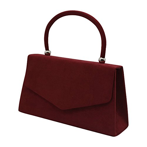 Prom Clutch Suede Evening Envelope Handbag Coral Shoulder Bag Velvet Bag Cckuu Burgundy Women's XpOxq8Ow
