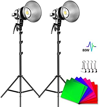 2-Pack GVM 80W 5600K LED CRI97+ Video Light with Tripod Stand