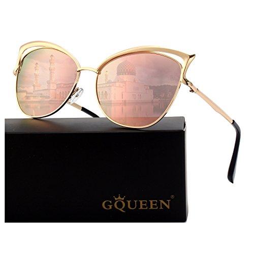GQUEEN Women's Oversized Polarized Metal Frame Mirrored Cat Eye Sunglasses MT3 - Gold Cats Eye