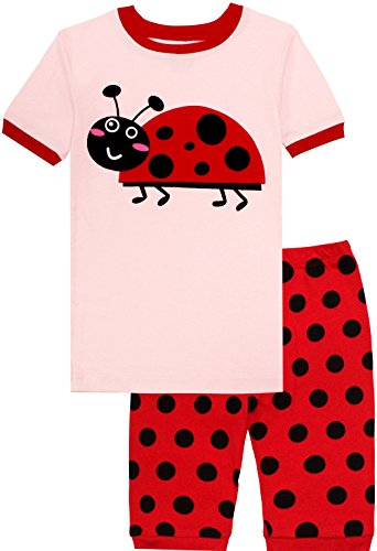 Short Girls Pajamas - Pajamas for Girls Short Sets Pink Ladybird Cartoon Sleepwear Children Summer Clothes Size 4T