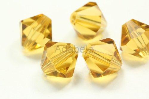 100 6mm Adabele Austrian Bicone Crystal Beads Amber Alternative For Swarovski Preciosa Crystalized 5301/5328 (Amber Oval Post)
