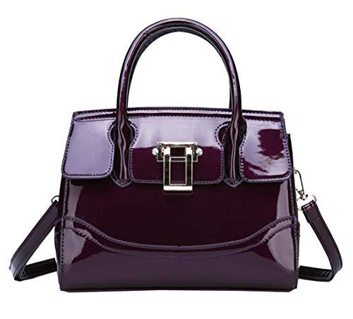 (Yan Show Women's Patent leather Elegant Vogue Handbag Multi-Pocket Shoulder Bag Metal Snap Purse)