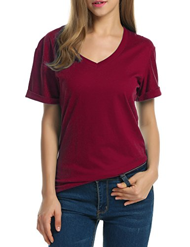 Meaneor Women Solid Comfy Loose Fit Roll Over Short Sleeve V Neck Lightweight Top Tee Wine Red M