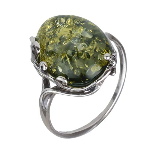 HolidayGiftShops Sterling Silver and Baltic Green Amber Ring Dana size: 9.5