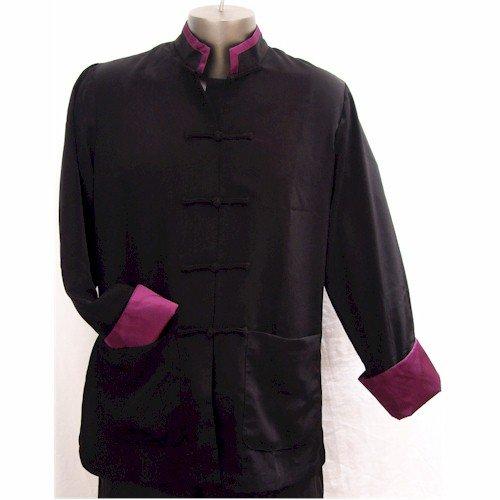 Purple Trim Black Rayon Silk Mandarin Collar Kung Fu Jacket, Size XL by Jade