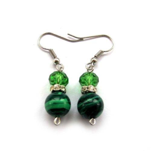 Gozebra(TM) Pair Of Green Malachite Gemstone Faceted Crystal Quartz Beads Earrings ()