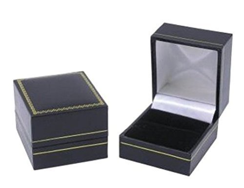 12 Classic Cartier Design Leatherette Black Ring Gift Box